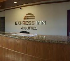 lobby and registration desk of Express Inn